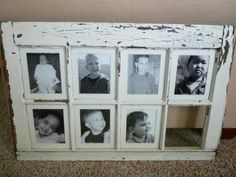 I have wanted to do this project for YEARS!!!  I love how clean the collage is with uniform sizes of the photos...try searching craigslist for old windows and then paint to your liking.  :-)