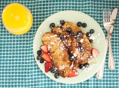 Mmm... Homemade Challah French Toast with berries makes an excellent breakfast! #breakfast #frenchtoast #challah #darciebakes