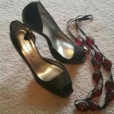 High heels Black peep toes heels. Inseam lower than outer. Barely worn. Rampage Shoes Heels