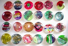 Simple DIY refrigerator magnets.  Great craft for kids.   (Use up your old nail polish to paint!)