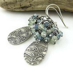 Gemstone Cluster Earrings Spring Fashion Ocean by JenniferCasady, $96.00
