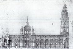 Classic Architecture, Historical Architecture, Architecture Plan, Section Drawing, Urban Design Plan, Old Buildings, Barcelona Cathedral, Taj Mahal, City Scapes