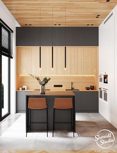 """For a small kitchen """"spacious"""" it is above all a kitchen layout I or U kitchen layout according to the configuration of the space. Kitchen Room Design, Kitchen Cabinet Design, Modern Kitchen Design, Kitchen Layout, Home Decor Kitchen, Interior Design Kitchen, Kitchen Furniture, Home Kitchens, Small Modern Kitchens"""