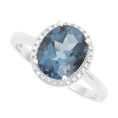 9ct white gold oval London blue topaz and diamond ring | Diamonds | Jewellery | Weddings | Fraser Hart Jewellers