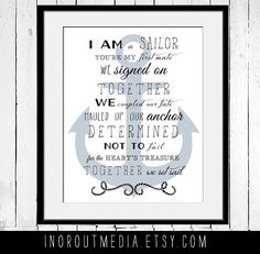 You're My First Mate - 11x14 typography quote print wall art on premium matte art paper, Typography poster, Nautical Quote Art. $20.00, via Etsy.