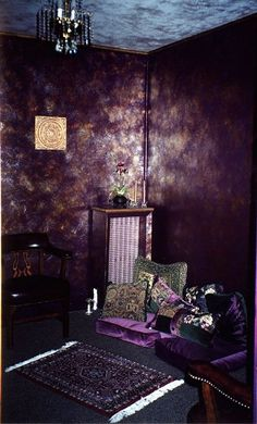 AMAZING purple metallic walls! How can I achieve this look? I already have my closet/beauty room painted dark purple i'd love to add some shine.