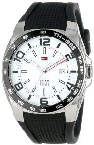 Tommy Hilfiger Men's 1790884  Sport Stainless Steel Bezel Black Silicon Strap Watch Tommy Hilfiger. $84.33. Durable mineral crystal protects watch from scratches. Case Diameter: 44 mm. Quartz movement. Water-resistant to 50 M (165 feet). Stainless case, black silicone strap. Save 27%!