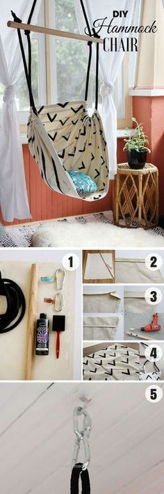 Check out how to make an easy DIY Hammock Chair for bedroom decor Industry Stand. - Walters Home - - Check out how to make an easy DIY Hammock Chair for bedroom decor Industry Stand. Diy Hammock, Hammock Chair, Hammocks, Hanging Chair, Diy Hanging, Hammock Ideas, Chair Cushions, Bedroom Chair, Bedroom Decor