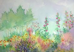 Jake Marshall watercolor. Hollyhocks, the flowers that refuse to grow in our yard!