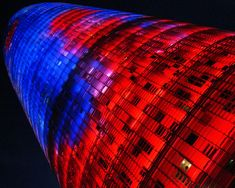 The Agbar Tower – Barcelona, Spain  Consists of over 4,000 LED lights illuminating the sky at night.