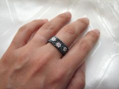 Flower peyote stitch ring