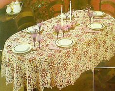 Vintage Crochet Oval Pineapple Motif Tablecloth by MAMASPATTERNS, $3.50