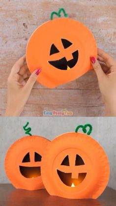 This paper plate pumpkin craft is the coolest Halloween craft idea for kids to make this year. Why carve pumpkins when you can carve paper plates. Halloween Crafts For Kids, Halloween Activities, Crafts For Kids To Make, Halloween Projects, Autumn Activities, Diy Halloween Decorations, Holidays Halloween, Halloween Themes, Learning Activities