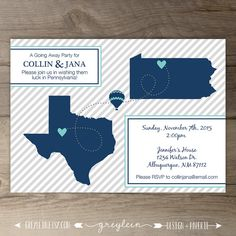 Going Away Party Invitations / Invites / Moving Announcements - DIY Printable / custom / map / state cut outs / by greylein