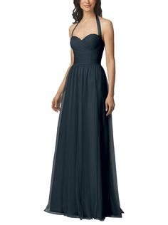 DescriptionWtoo by Watters Style 950iFull length bridesmaid dressSweetheart neckline with halter strapsFull, a-line skirtBobbinet tulle