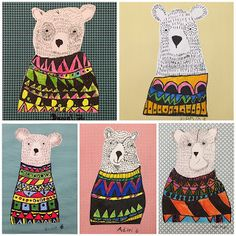Pen and line technique art project for kids. Bear with sweater illustration