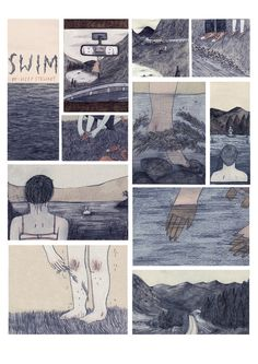 "by Lizzy Stewart. A poster from her book ""Swim"". She has a real eye for quiet moments and a real hand for mood. I just love her work. I'm particularly in love with the panel with the scuffed knees and the sticky grass - I can almost feel it. Buy the poster for just under $10."