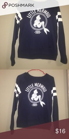 Little mermaid sweater Juniors small little mermaid navy blue sweater. Gently worn, no rips stains or lose threads. Sweaters Crew & Scoop Necks