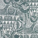 Mark Hearld - Bird Garden fabric - Blue