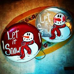 Recycle, Rethink, Reuse, Repurpose & Upcycle, painted old metal saucer sleds, (suicide sleds) with snowman at www.goldncountrygifts.com Weyauwega, WI & https://www.facebook.com/weluv2cre8