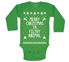*EARLY CHRISTMAS SUPER SALE* (LOW PRICE for limited time)   MERRY CHRISTMAS YA FILTHY ANIMAL Baby Soft Blend Long Sleeve One Piece.  *Please read size