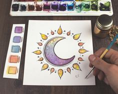 Sun + Moon with Hand Painting Gold Leaf Details Art Print