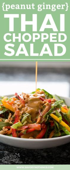 If you're looking for a healthy salad recipe, this peanut ginger Thai chopped salad is just what you need! The dressing is super creamy and full of Asian flavors, and the crunchy vegetables make the salad so fresh! It's quick and easy to throw together for a vegetarian summer BBQ side dish, or to serve alongside dinner!