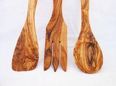 Handcrafted Wooden Kitchen Cooking Utensils Set - Spoon, Fork & Spatula…