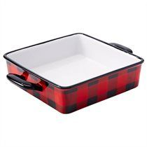 Camp square casserole dish in lumberjack tartan aka buffalo plaid. They have a matching muffin tin, but this is the thing I want. Buffalo Print, Buffalo Check, Buffalo Plaid, Black Bear Decor, Cabin Kitchens, Dream Home Design, Red And Black Plaid, Plaid Christmas, Dinnerware Sets