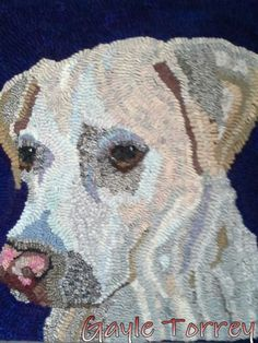 Bella, started in fall 2013 in a class with Diane Phillips, finally finished and mounted on stretcher Feb 2015