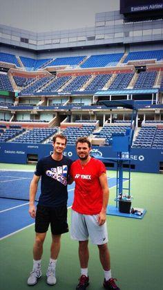 Murray & Wawrinka practice @ 2013 US Open