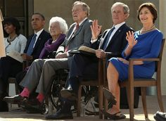 First lady Michelle Obama, President Barack Obama, former first lady Barbara Bush, former President George H. Bush, former President George W. Bush and former first lady Laura Bush on April 2013 in Dallas.