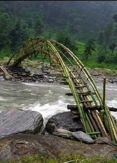 sıtkı All Nature / Bamboo bridge Would love to cross this someday Old Bridges, Bamboo Structure, Bamboo Architecture, Parks, Bridge Design, Pedestrian Bridge, All Nature, Covered Bridges, Beautiful Landscapes