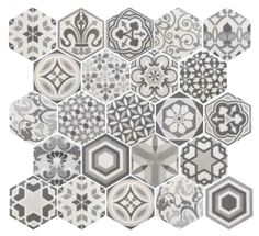 If your looking to create a statement floor then these Hexagon tiles really could be the answer. Perfect for a vintage bathroom, kitchen or hallway, use the patchwork tile on its own or with any of the 3 coloured base tiles Tiles Uk, Hexagon Tiles, Wall Tiles, Hexagon Backsplash, Backsplash Ideas, Patterned Kitchen Tiles, Kitchen Backsplash, Patchwork Tiles, Patchwork Patterns