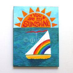 You Are My Sunshine Boat No. 9 Nautical Art for Kids by nJoyArt