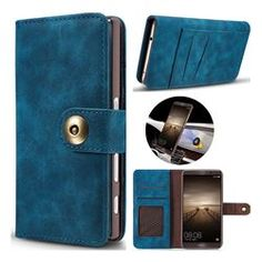 Luxury Vintage Split Separated Leather Wallet Case for Huawei Mate 9 - Navy Blue - Leather Case - Guuds