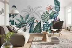 Tropical Rainforest Plants Wallpaper, Southeast Asia Tropical Banana Leaf & Plants Vivid Bird Wall Mural for Living Room or Bedroom Plant Wallpaper, Photo Wallpaper, Rainforest Plants, Smooth Walls, Cleaning Walls, Traditional Wallpaper, Custom Wallpaper, Wall Murals, Wall Decor