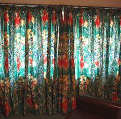 Vintage 1980s Pair Long Wide Cotton Curtains Jonelle Duracolour Bergerac