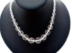 "Graduated Clear Crystal Quartz Briolet Faceted Large Bead 18"" Necklace Vintage 