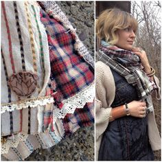 CUSTOM made Eco SCARF shabby chic scarf patchwork scarf by zasra