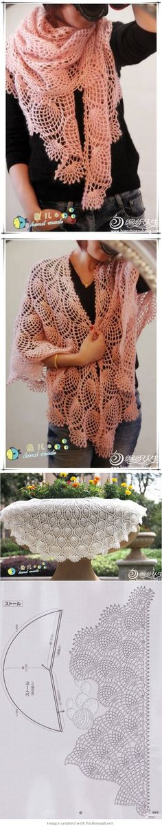 gorgeous lacy pineapple shawl including graph!!! ༺✿ƬⱤღ  http://www.pinterest.com/teretegui/✿༻