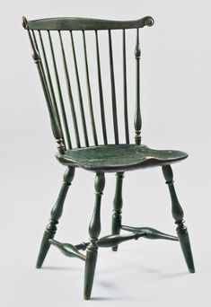 One Of A Pair Of Green Painted Fan Back Windsor Side Chairs Philadelphia,  Pennsylvania, , Circa 1780 Hickor.