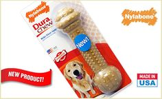 """Dog owners and pups will love this deal: """"One Nylabone Dura Chew Barbell Chew"""" as featured on doggyloot.com"""