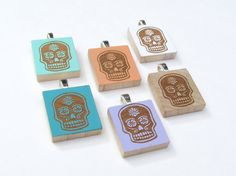 Dia de los Muertos Pendant for Necklace - Laser Etched on Scrabble Wood, Jewelry, Gift