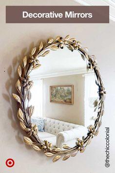 Round Wall Mirror, Diy Mirror, Bedroom Decor, Wall Decor, Gold Walls, Home Decor Items, Home Decor Inspiration, Decoration, Farmhouse Decor