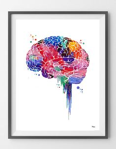 Brain watercolor print anatomy art brain lateral view poster