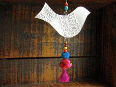 Mexican Foil Art Bird Decoration Gypsy Hippie Decor by FoilingStar