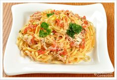 Linguine with Crab: This simple but elegant pasta dish combines linguine with a light sauce made with lump crabmeat, fresh tomatoes, butter and white wine.