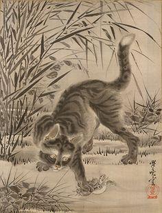 河鍋暁斎『蛙を捕まえる猫』明治21(1881)年頃 メトロポリタン美術館 ©Metropolitan Museum of Art