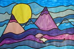 a faithful attempt: Ted Harrison style landscapes lesson plan Landscape Art Lessons, Landscape Paintings, Landscapes, Landscape Drawings, Cultural Crafts, 4th Grade Art, Grade 3, Mountain Art, Art Lessons Elementary
